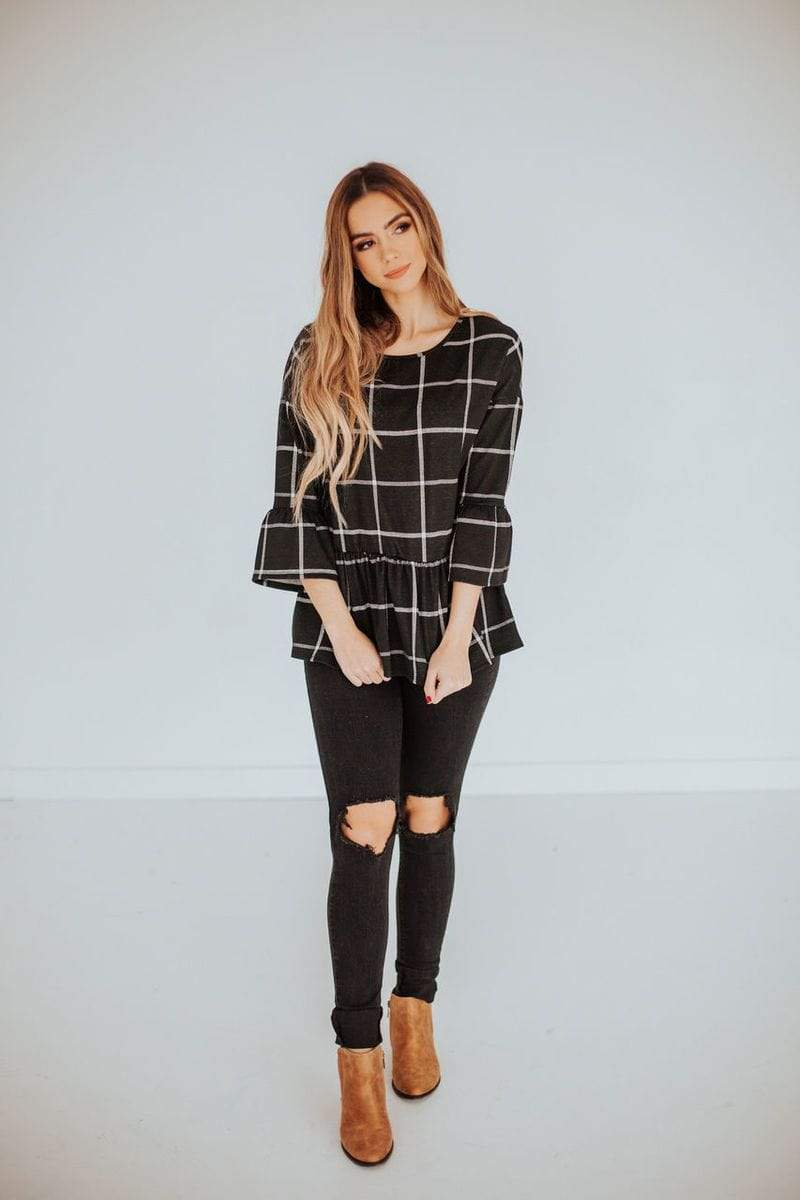 Leora Plaid Peplum Top Black