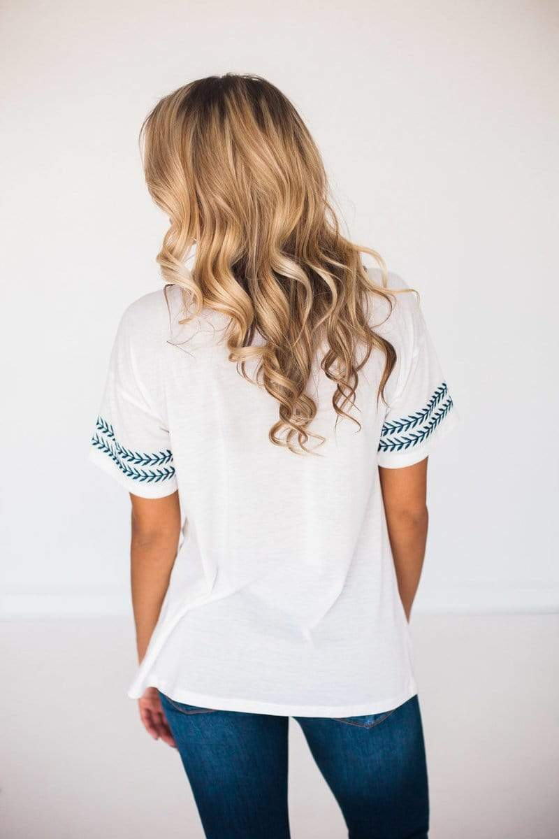 Lola Embroidered Top Ivory