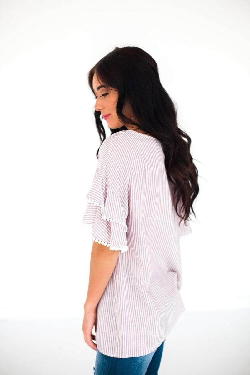 London Striped Pom Sleeve Top Blush