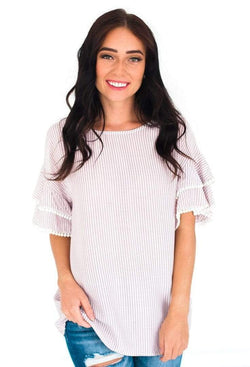 London Striped Pom Sleeve Top Blush Small