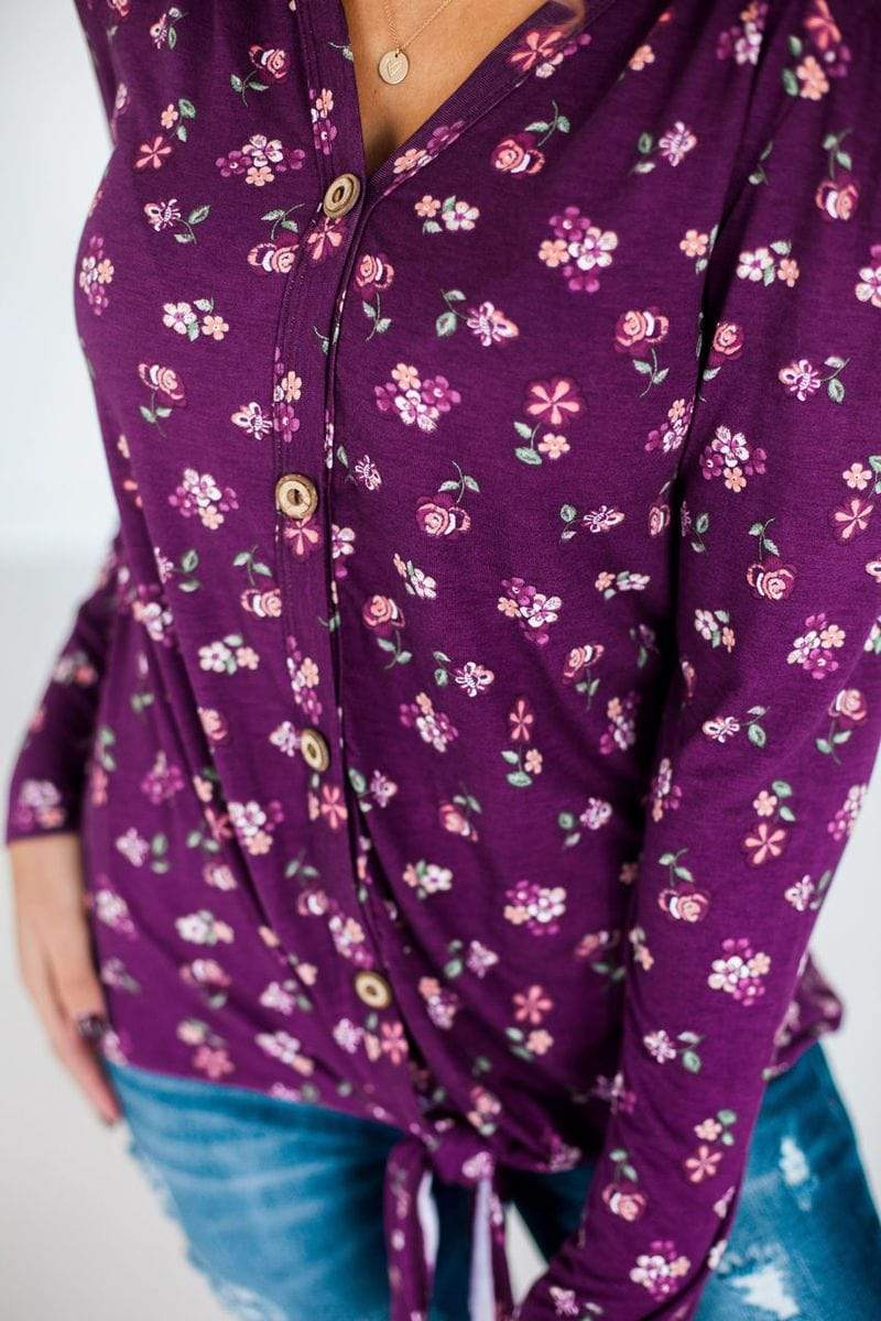 Poppy Floral Button Up Top Plum