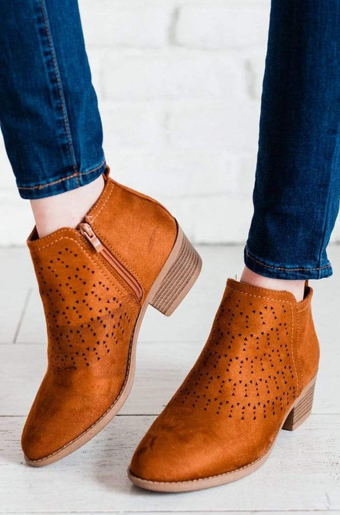 Shoes: Booties Doly Laser Cut Out Booties Whiskey
