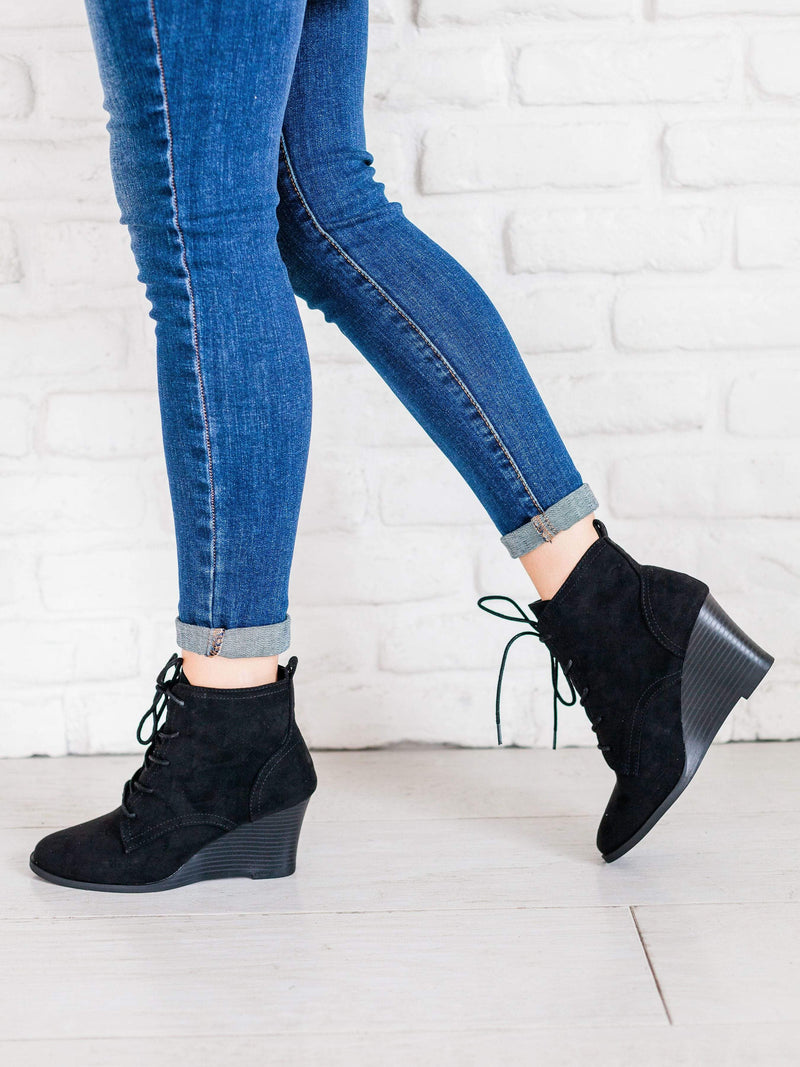 Shoes: Booties Lace Up Wedge Booties Black