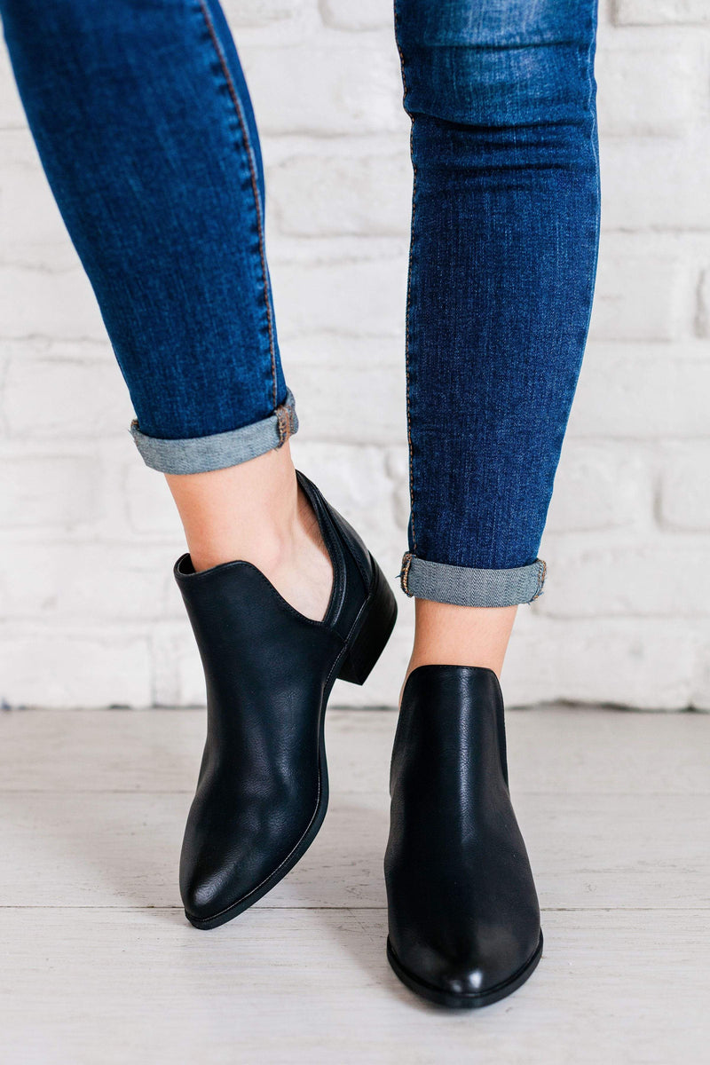 Shoes: Booties Side Slit Bootie Black