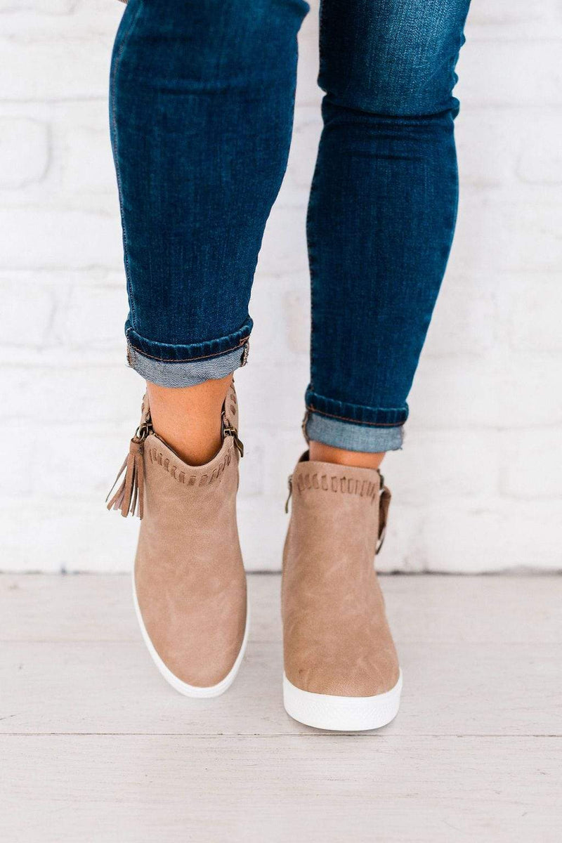 Shoes: Booties Taylor Wedge Sneakers Taupe