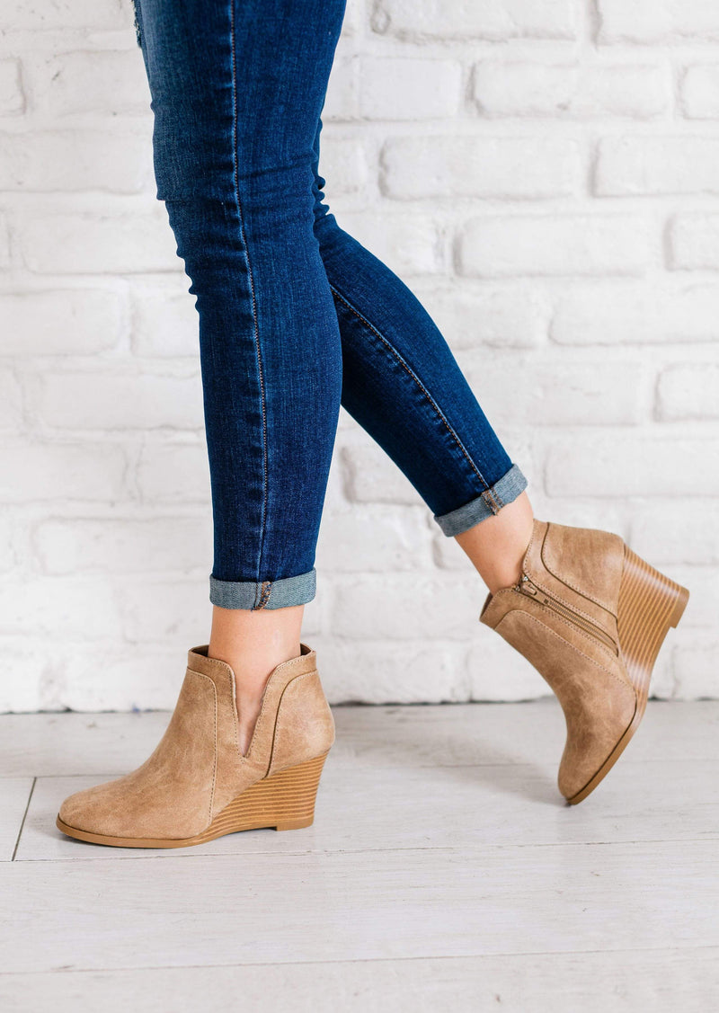 Shoes: Booties Wedge Booties Taupe