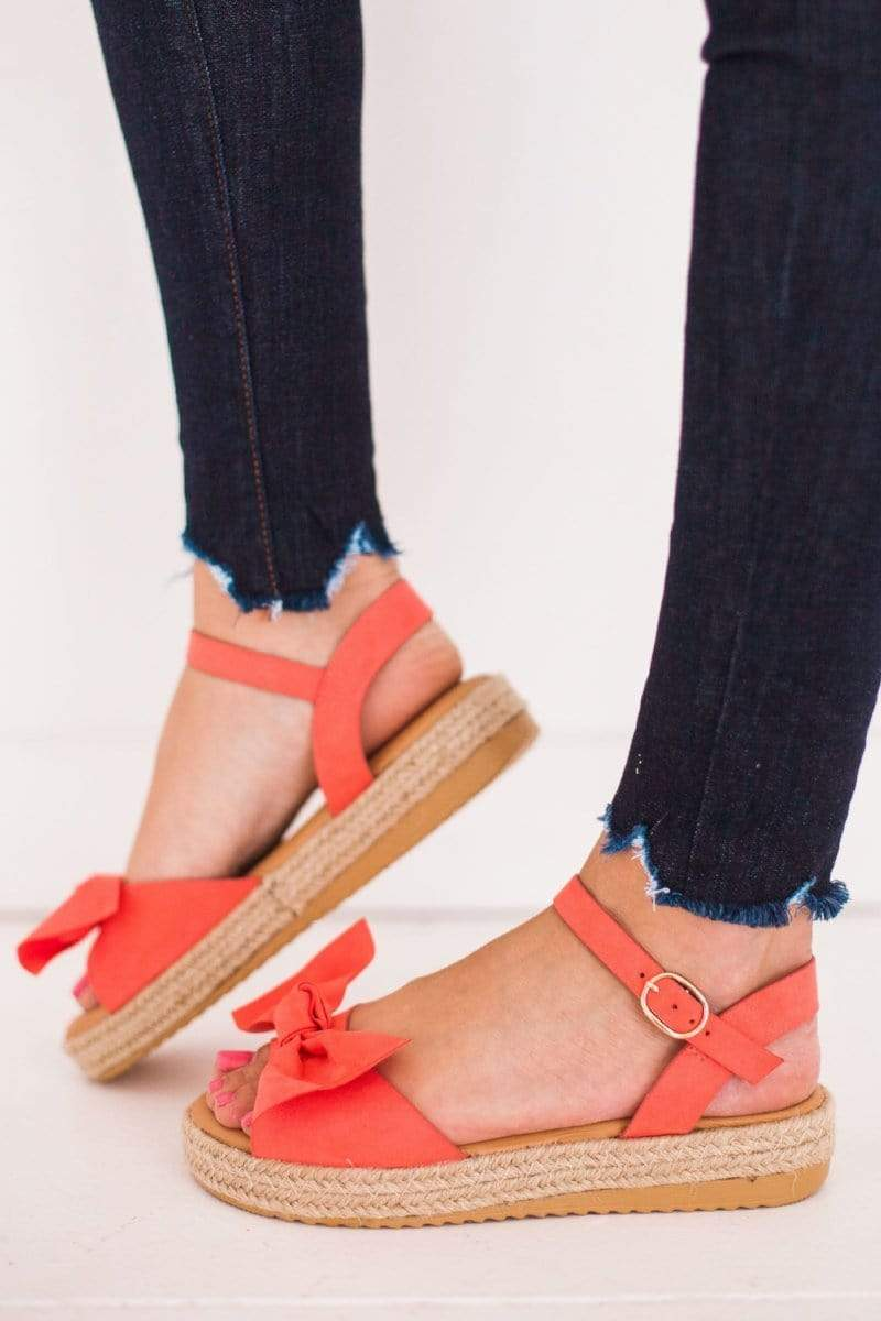 Shoes Bow Top Sandals Coral