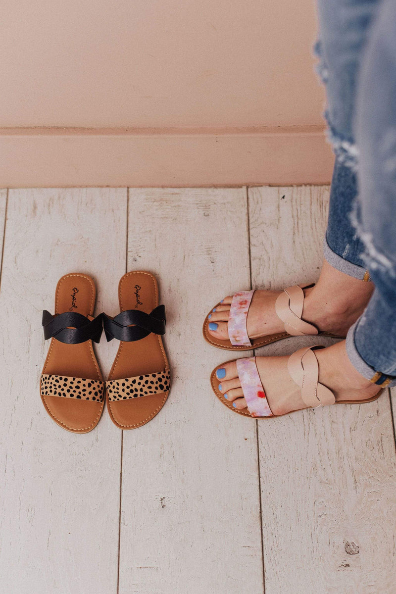 Shoes Braided Double Strap Sandals Leopard