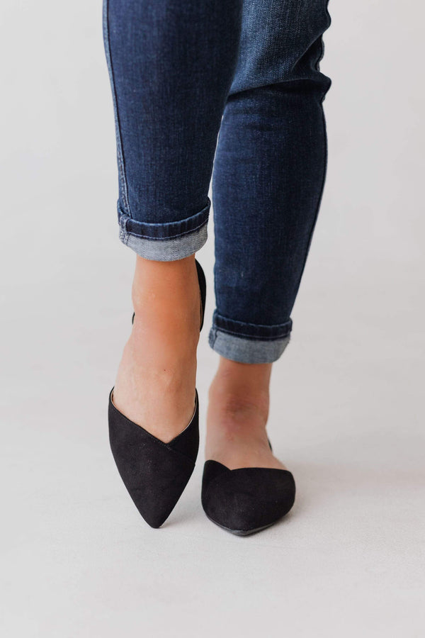 Shoes Cara Side Cut Flats Black