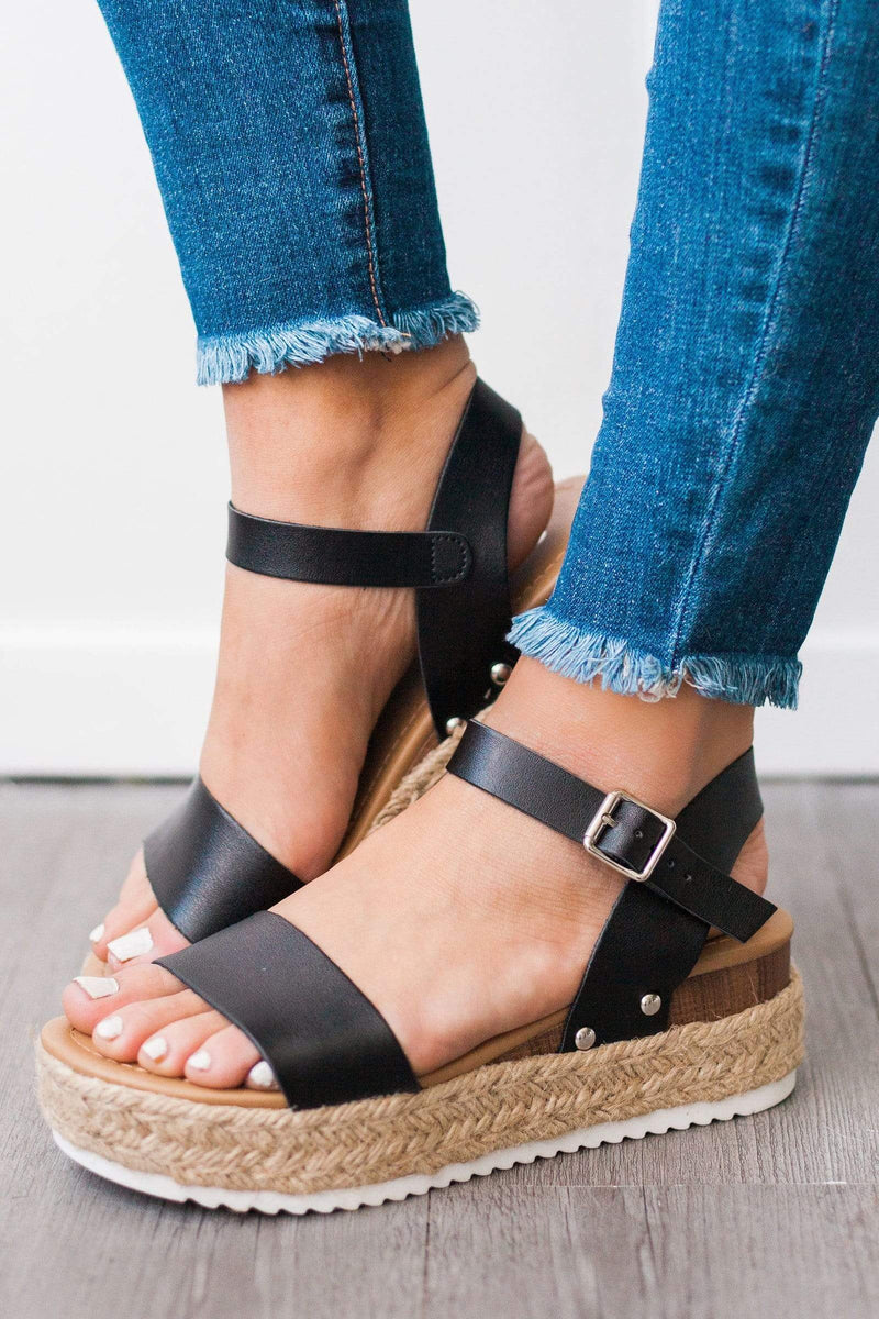 Shoes Clip Espadrille Sandals Black