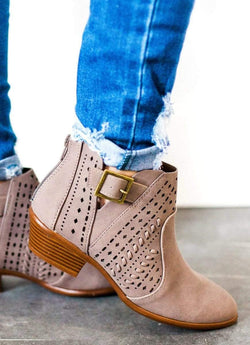 Shoes Cut Out Buckled Booties Taupe 5.5