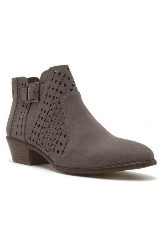 Shoes Cut Out Buckled Booties Taupe