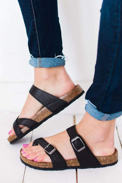 Shoes Defeat Buckled Sandals Black