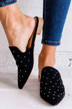 Shoes Grace Studded Flats Black