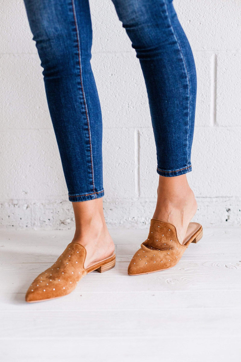Shoes Grace Studded Flats Camel