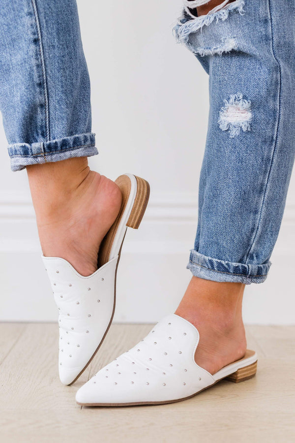 Shoes Grace Studded Flats White