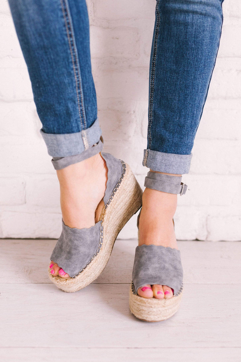 Shoes Jade Scalloped Wedges Grey