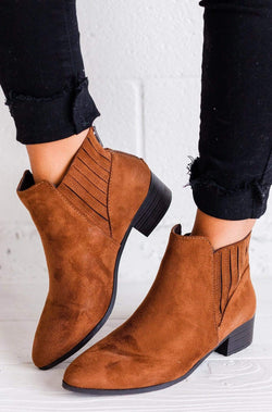 Shoes Julliet Side Stretch Booties Cognac