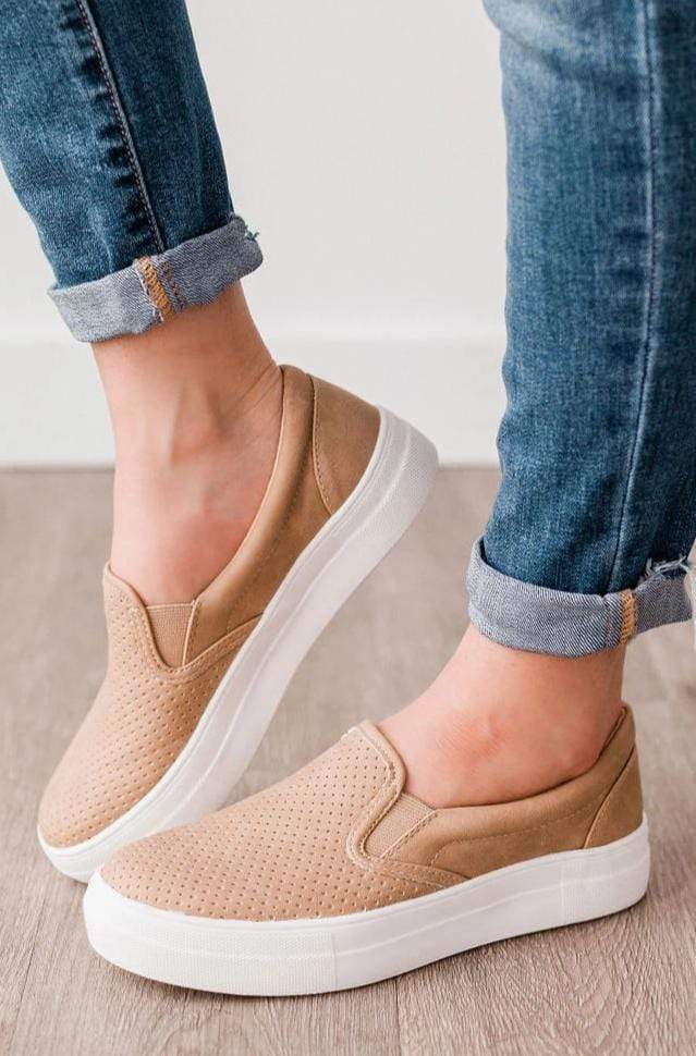 Shoes Perforated Sneakers Camel