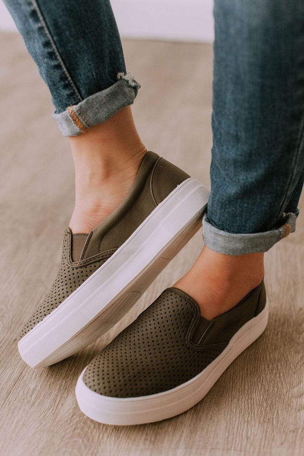 Shoes Perforated Sneakers Olive