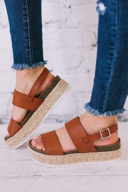 Shoes Platform Sandals Tan