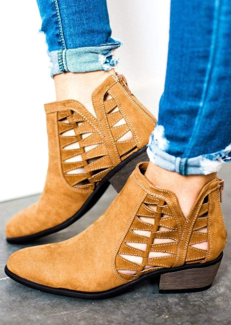 Shoes Sadie Side Cut Out Bootie Tan