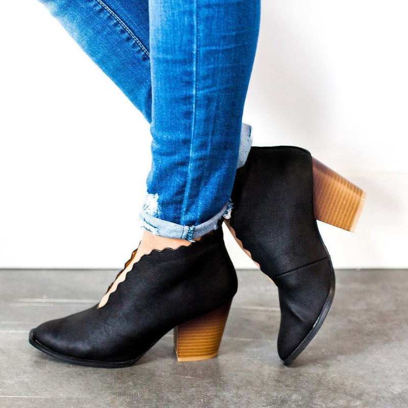 Shoes Scalloped Edge Booties Black