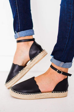 Shoes Scalloped Espadrille Flats Black