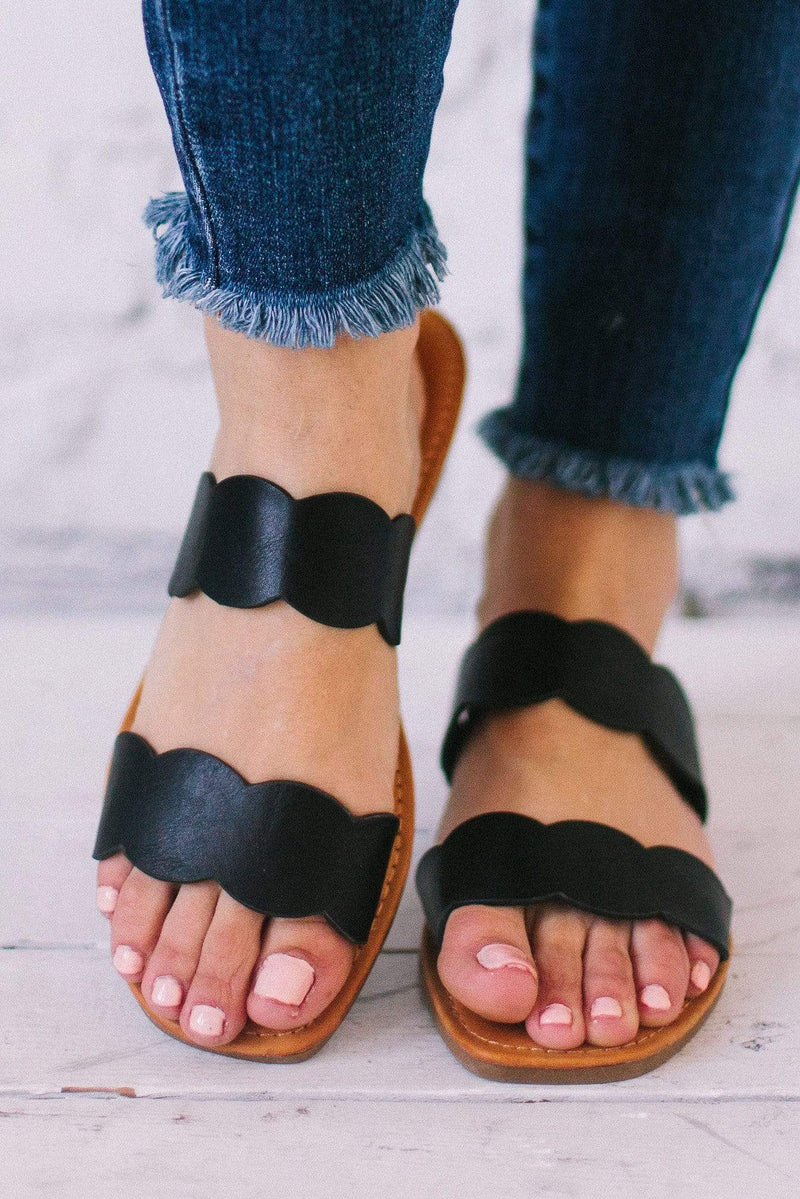 Shoes Scalloped Sandals Black