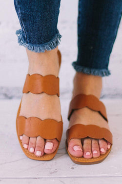 Shoes Scalloped Sandals Tan