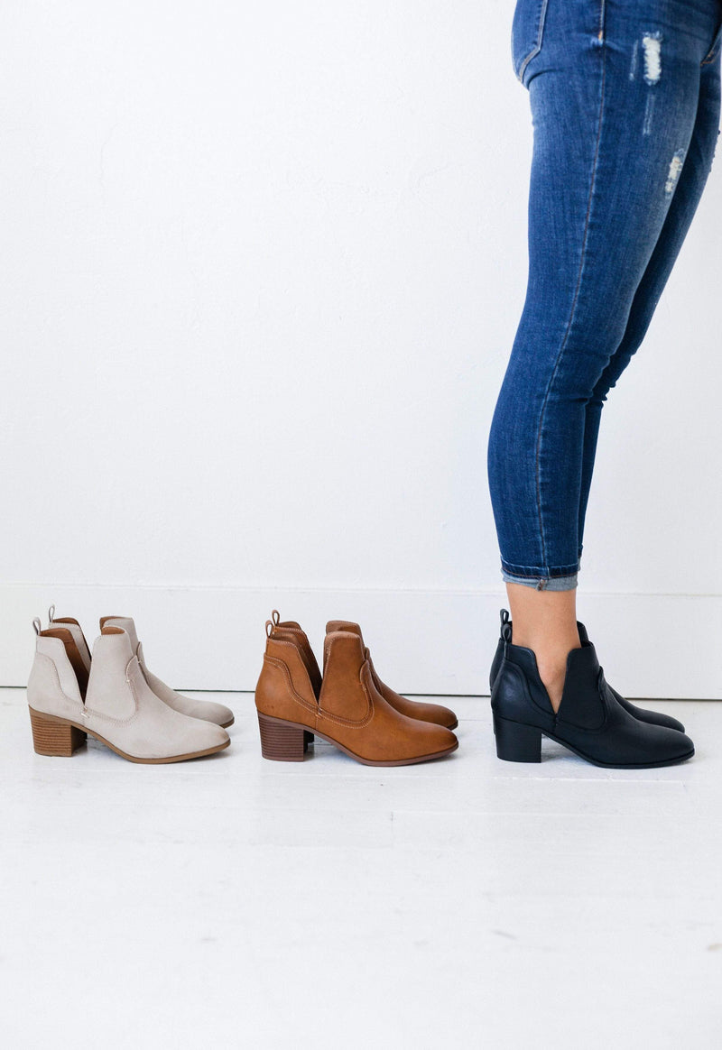 Shoes Side Cut Out Booties Black