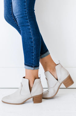 Shoes Side Cut Out Booties Stone