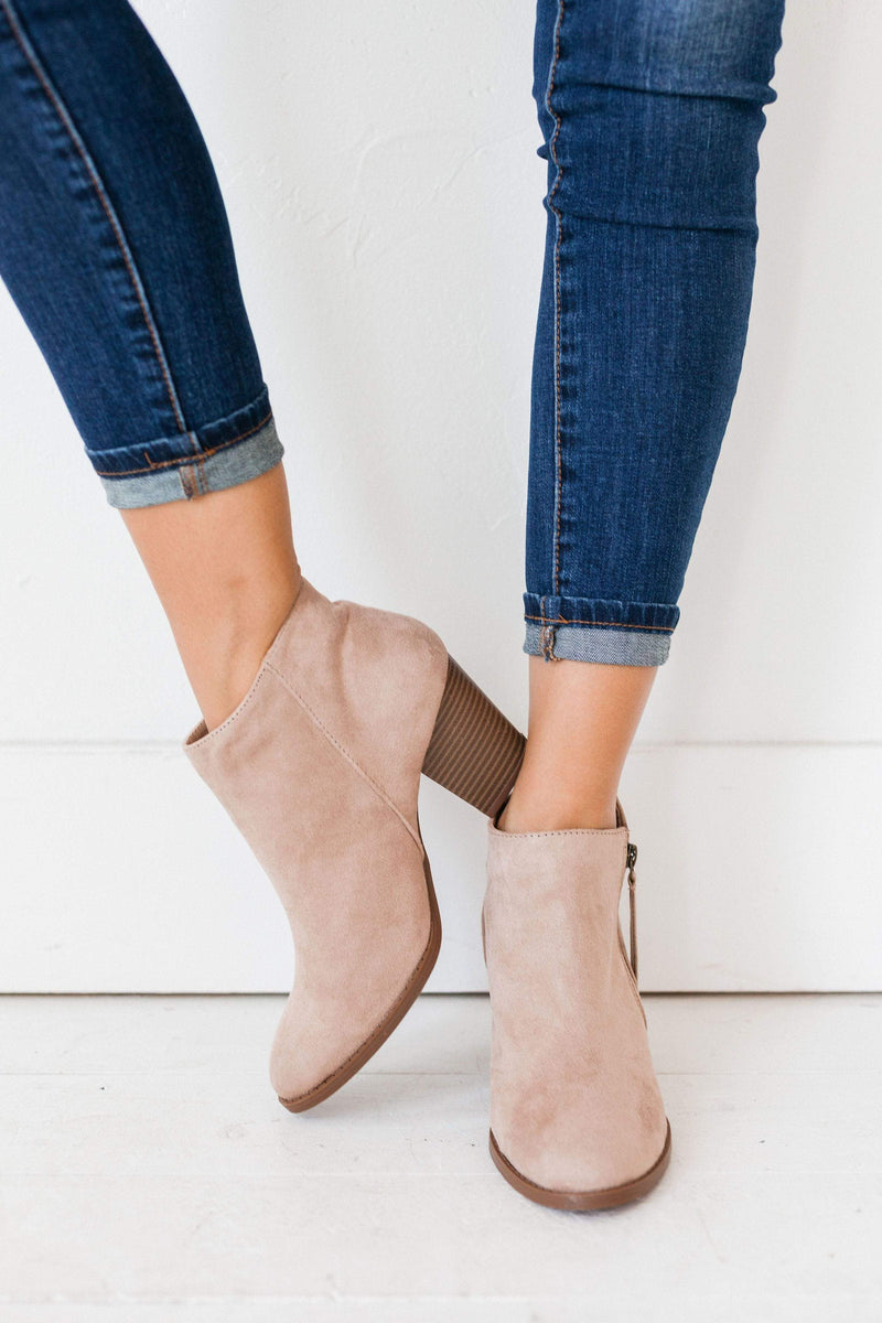 Shoes Side Zipper Heel Bootie Taupe