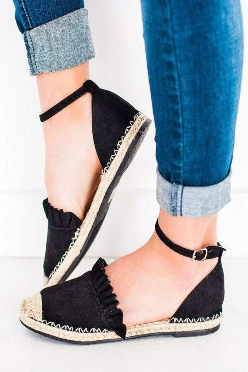 Shoes Sierra Espadrille Flats Black 5.5