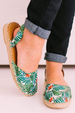 Shoes Sling Back Espadrille Flats Tropical