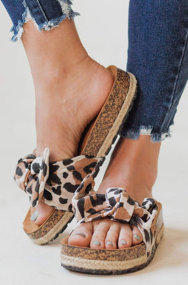 Slip On Bow Sandals Leopard