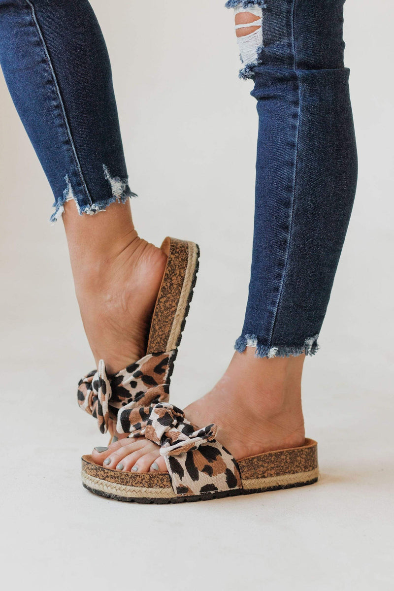 Shoes Slip On Bow Sandals Leopard
