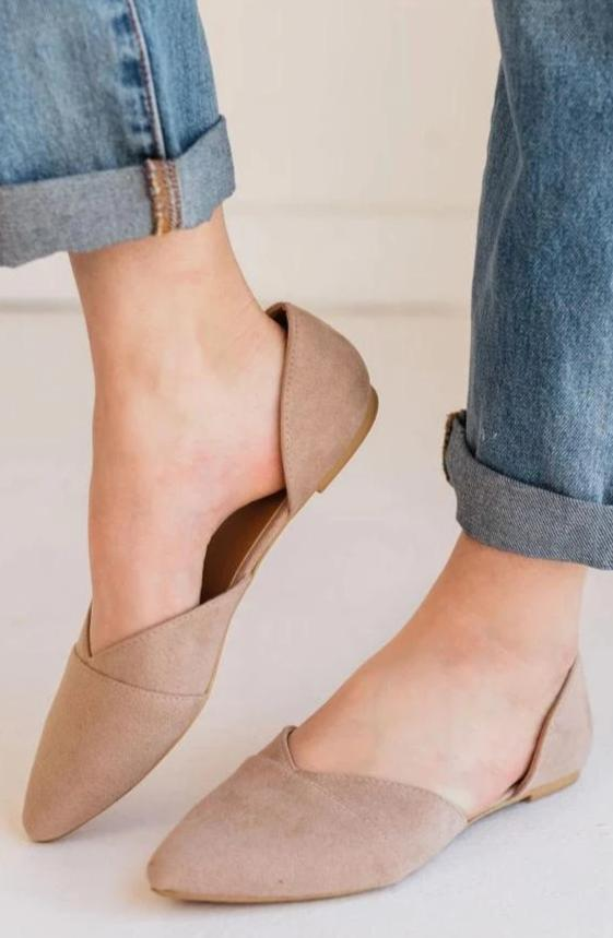 Shoes: Sneakers Charlie Pointed Toe Flats Taupe
