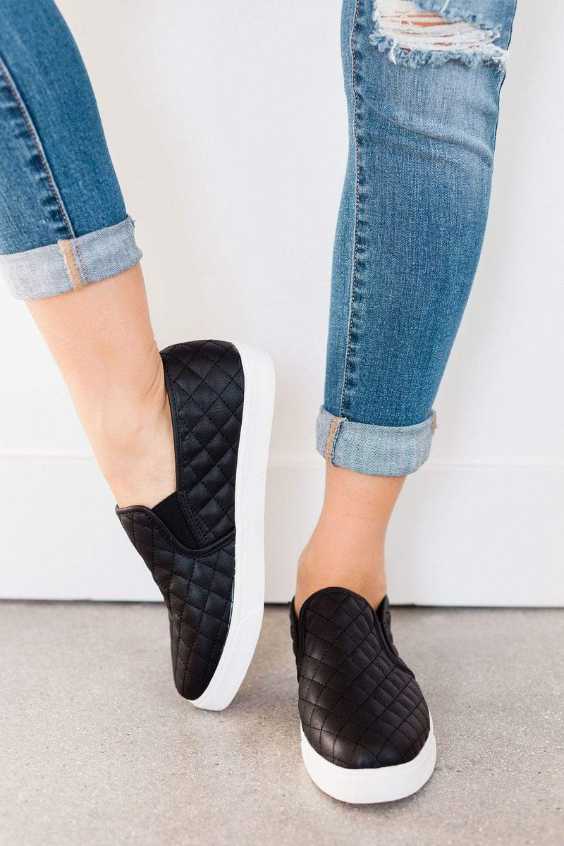 black quilted shoes