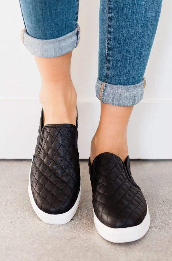 Shoes: Sneakers Quilted Sneakers Black