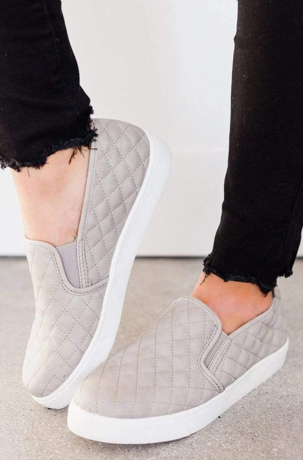 Shoes: Sneakers Quilted Sneakers Grey