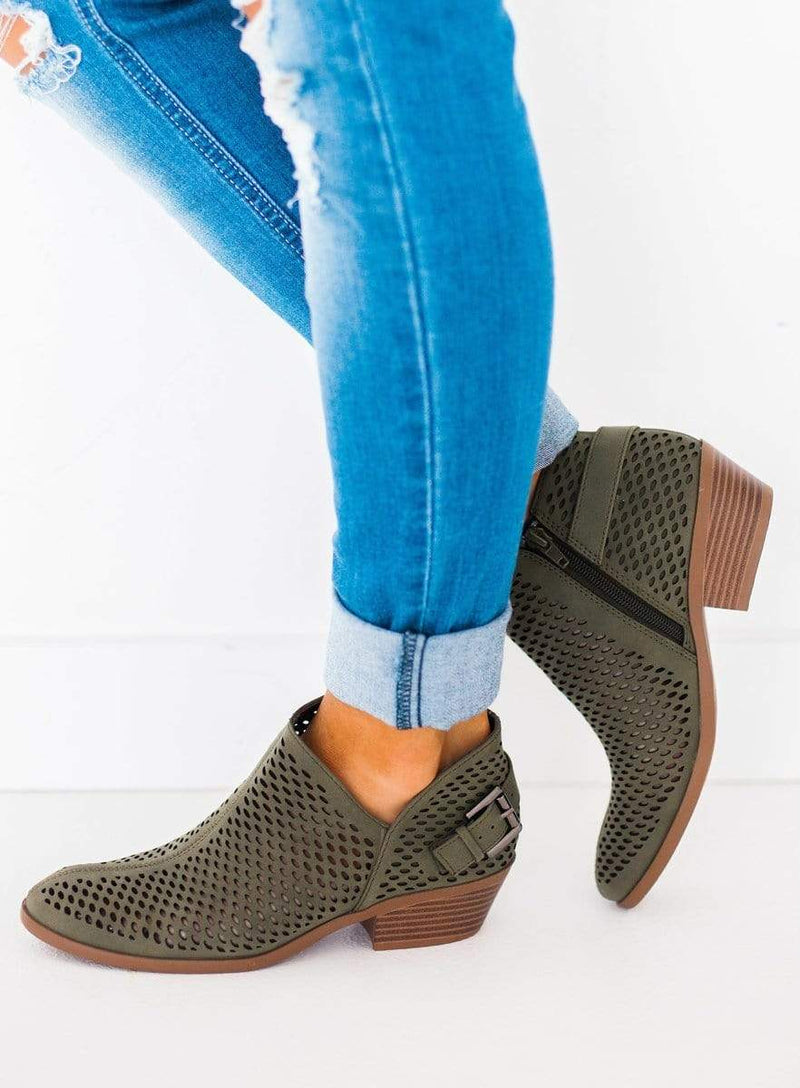Shoes Soleil Mesh Booties Olive 5.5