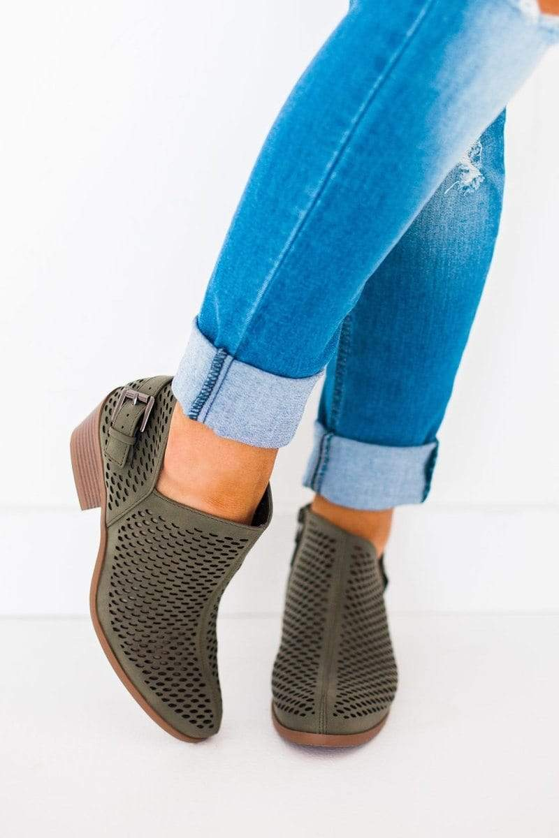 Shoes Soleil Mesh Booties Olive