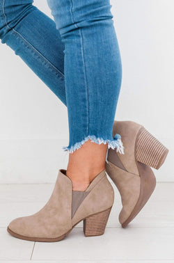 Shoes Stacked Heel Bootie Taupe