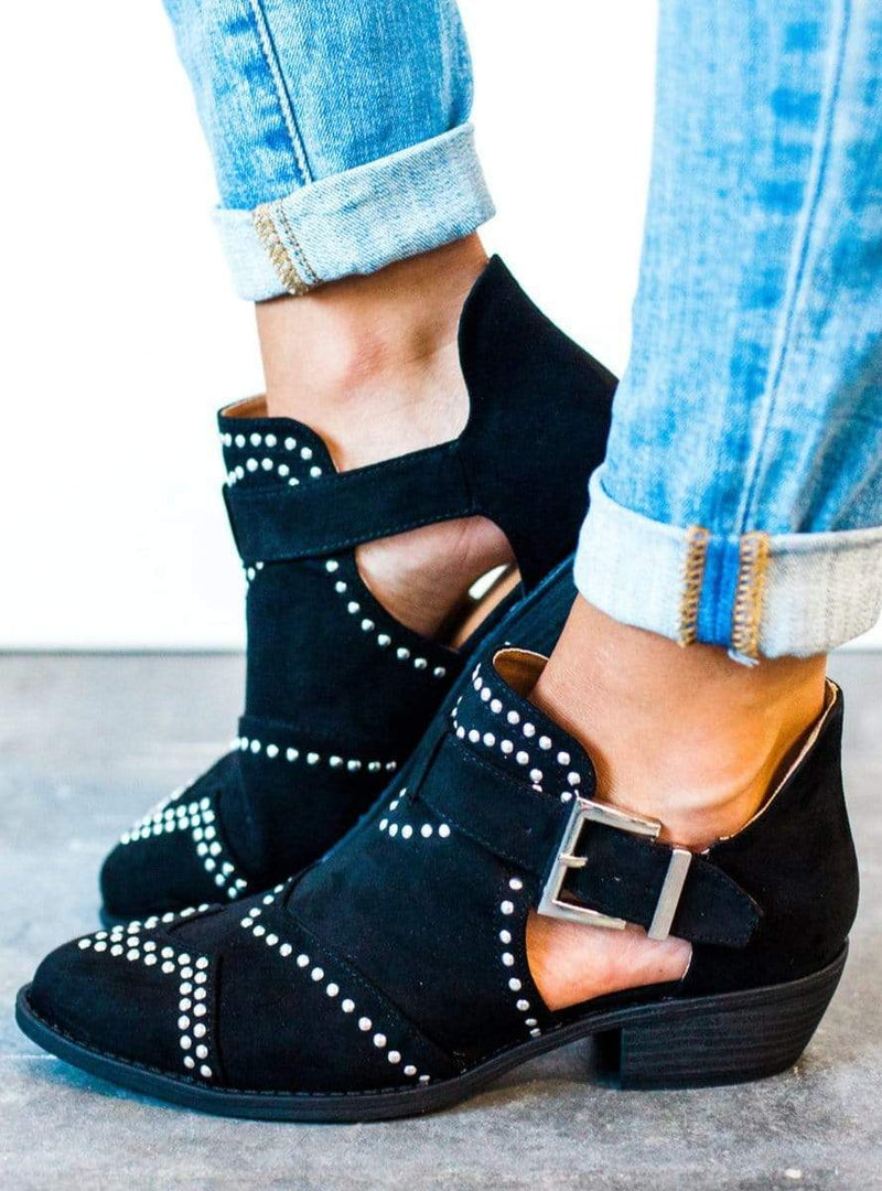 Shoes Studded Bootie Black