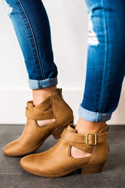 Shoes Troy Side Buckled Bootie Tan 5.5