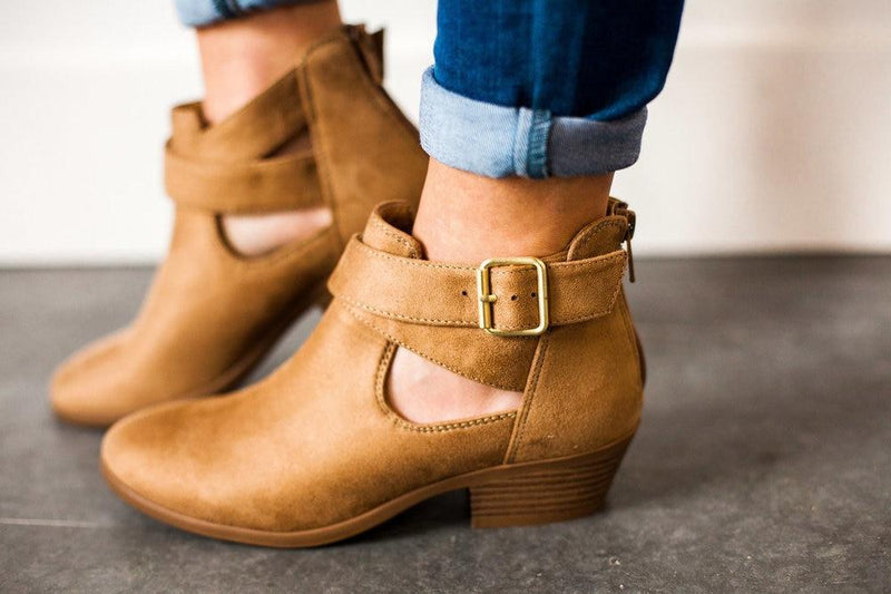 Shoes Troy Side Buckled Bootie Tan
