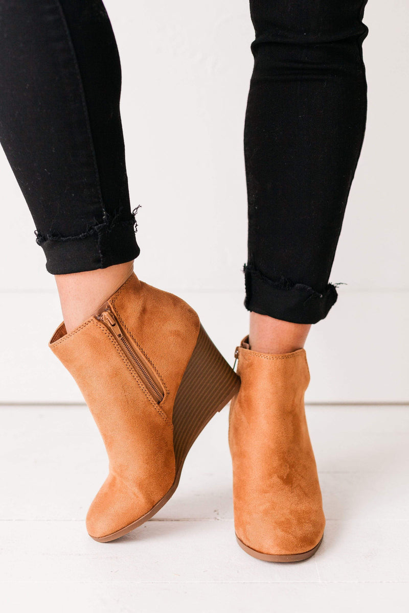 Shoes Wedge Booties Tan
