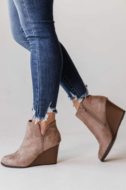 Shoes Wedge Booties Taupe