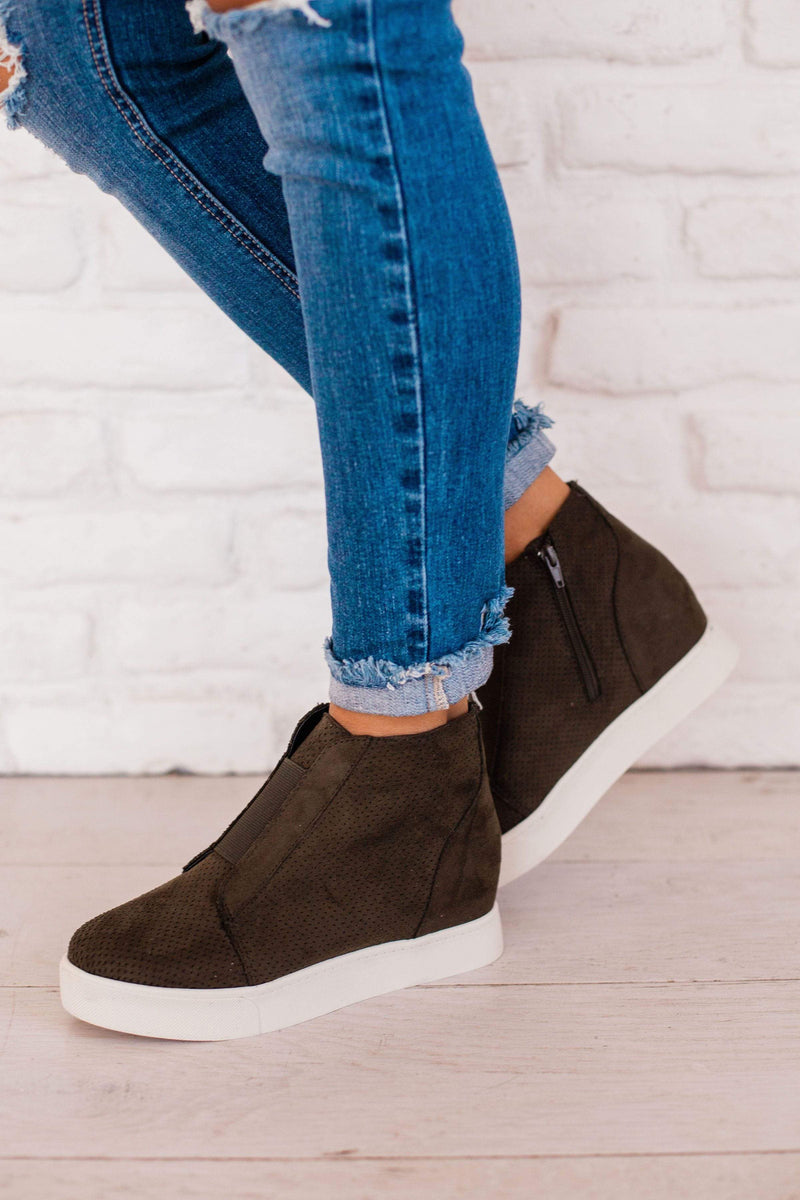 Shoes Wedge Sneakers Olive